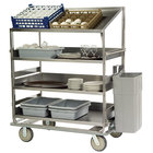 Lakeside B591 Stainless Steel Soiled Dish Breakdown Cart with 3 Flat Shelves, 1 Angled Shelf - 51 7/8 inch x 30 7/8 inch x 69 1/4 inch