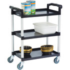 Lakeside 2500 Black Plastic Three Shelf Utility Cart - 31 3/4 inch x 17 1/2 inch x 38 inch