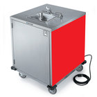 Lakeside 9600 Portable Self-Contained Stainless Steel Hand Sink Cart with Cold Water Faucet, Soap Dispenser, and Red Finish - 115V