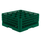 Vollrath TR8DDA Traex Full-Size Green 16-Compartment 7 7/8 inch Glass Rack with Open Rack Extender On Top