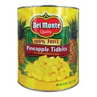 Del Monte #10 Can Pineapple Tidbits in Juice - 6/Case