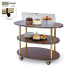 Geneva 36303-09 3 Oval Shelf Table Side Service Cart with Acrylic Roll Top Dome and Beige Suede Finish - 23 inch x 44 inch x 44 1/4 inch