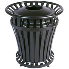 Rubbermaid FG402100BLA WeatherGard Black Round Steel Waste Receptacle with Brute Rigid Plastic Liner 32 Gallon