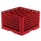 Vollrath TR11GGGGA Traex® Rack Max Full-Size Red 20-Compartment 11 7/8 inch Glass Rack with Open Rack Extender On Top