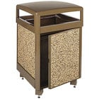 Rubbermaid FGR38SD201PL Aspen Brown with Desert Brown Stone Panels Square Steel Waste Receptacle with Side Door, Cam Lock and Rigid Plastic Liner 38 Gallon