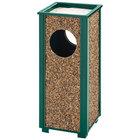 Rubbermaid FGR41202PL Aspen Ash/Trash Empire Green with Desert Brown Stone Panels Square Steel Waste Receptacle with Rigid Plastic Liner 2.5 Gallon