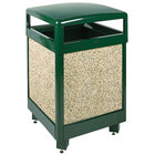 Rubbermaid FGR38HT202PL Aspen Hinged-Top Empire Green with Desert Brown Stone Panels Square Steel Waste Receptacle with Rigid Plastic Liner 38 Gallon