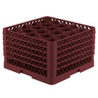 Vollrath TR11GGGGA Traex® Rack Max Full-Size Burgundy 20-Compartment 11 7/8 inch Glass Rack with Open Rack Extender On Top