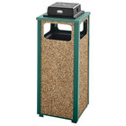 Rubbermaid FGR12WU202PL Aspen Ash/Trash Empire Green with Desert Brown Stone Panels Square Steel Waste Receptacle with Weather Urn and Rigid Plastic Liner 12 Gallons