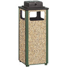 Rubbermaid R12WU Aspen Ash/Trash Empire Green with Desert Brown Stone Panels Square Steel Waste Receptacle with Weather Urn and Rigid Plastic Liner 12 Gallons (FGR12WU202PL)