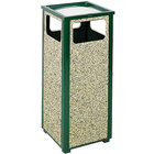 Rubbermaid FGR12SU202PL Aspen Ash/Trash Empire Green with Desert Brown Stone Panels Square Steel Waste Receptacle with Rigid Plastic Liner 12 Gallons