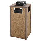 Rubbermaid FGR18WU201PL Aspen Ash/Trash Brown with Desert Brown Stone Panels Square Steel Waste Receptacle with Weather Urn and Rigid Plastic Liner 24 Gallons