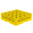 Vollrath TR8D Traex® Full-Size Yellow 16-Compartment 4 13/16 inch Glass Rack