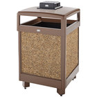 Rubbermaid FGR38HTWU201PL Aspen Hinged-Top Brown with Desert Brown Stone Panels Square Steel Waste Receptacle with Weather Urn and Rigid Plastic Liner 38 Gallon
