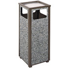 Rubbermaid FGR12SU6000PL Aspen Ash/Trash Architectural Bronze with Glacier Gray Stone Panels Square Steel Waste Receptacle with Rigid Plastic Liner 12 Gallons