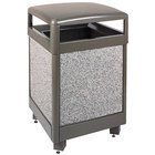 Rubbermaid FGR48HT6000PL Aspen Hinged-Top Architectural Bronze with Glacier Gray Stone Panels Square Steel Waste Receptacle with Rigid Plastic Liner 48 Gallon