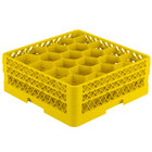 Vollrath TR11GA Traex Rack Max Full-Size Yellow 20-Compartment 6 3/8 inch Glass Rack with Open Rack Extender On Top