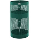 Rubbermaid FGH9NEGN Towne Series Empire Green Perforated Steel Pole/Wall Mount with Drain Holes 22 Gallon