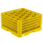 Vollrath TR11GGGA Traex® Rack Max Full-Size Yellow 20-Compartment 9 7/16 inch Glass Rack with Open Rack Extender On Top
