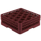 Vollrath TR11GA Traex® Rack Max Full-Size Burgundy 20-Compartment 6 3/8 inch Glass Rack with Open Rack Extender On Top