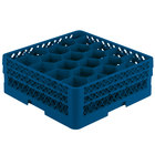 Vollrath TR11GA Traex® Rack Max Full-Size Royal Blue 20-Compartment 6 3/8 inch Glass Rack with Open Rack Extender On Top