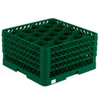 Vollrath TR11GGGA Traex® Rack Max Full-Size Green 20-Compartment 9 7/16 inch Glass Rack with Open Rack Extender On Top