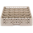 Vollrath TR13BB Traex® Low Profile Full-Size Beige 25-Compartment 3 9/16 inch Glass Rack with 2 Extenders