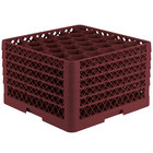 Vollrath TR12HHHHA Traex® Rack Max Full-Size Burgundy 30-Compartment 11 7/8 inch Glass Rack with Open Rack Extender On Top