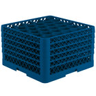 Vollrath TR12HHHHA Traex® Rack Max Full-Size Royal Blue 30-Compartment 11 7/8 inch Glass Rack with Open Rack Extender On Top
