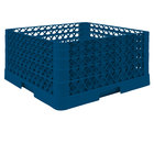 Vollrath TR6BBBA Traex Full-Size Royal Blue 25-Compartment 9 7/16 inch Glass Rack with Open Rack Extender On Top