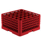 Vollrath TR6BBBB Traex® Full-Size Red 25-Compartment 9 7/16 inch Glass Rack