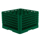 Vollrath TR6BBBBA Traex® Full-Size Green 25-Compartment 11 inch Glass Rack with Open Rack Extender On Top