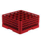 Vollrath TR6BBB Traex Full-Size Red 25-Compartment 7 7/8 inch Glass Rack