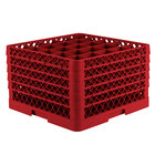 Vollrath TR6BBBBA Traex® Full-Size Red 25-Compartment 11 inch Glass Rack with Open Rack Extender On Top