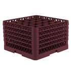 Vollrath TR6BBBBB Traex® Full-Size Burgundy 25-Compartment 11 inch Glass Rack