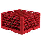 Vollrath TR12HHHA Traex Rack Max Full-Size Red 30-Compartment 9 7/16 inch Glass Rack with Open Rack Extender On Top