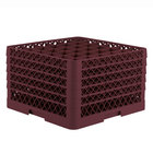 Vollrath TR7CCCCA Traex® Full-Size Burgundy 36-Compartment 11 inch Glass Rack with Open Rack Extender On Top