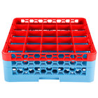 Carlisle RG25-2C410 OptiClean 25 Compartment Red Color-Coded Glass Rack with 2 Extenders