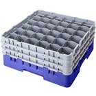 "Cambro 36S1214168 Blue Camrack Customizable 36 Compartment 12 5/8"" Glass Rack"