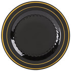 Fineline Silver Splendor 509-BKG 9 inch Black Plastic Plate with Gold Bands - 12/Pack