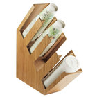 Cal-Mil 2048-4-60 Bamboo Slanted 4 Section Cup and Lid Holder - 4 1/2 inch x 19 1/2 inch x 19 1/4 inch