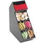 Cal-Mil 2052 Classic Black Stir Stick and Condiment Display with Removable Dividers - 5 1/2 inch x 13 1/4 inch x 14 1/4 inch