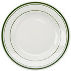 Tuxton TGB-007 Green Bay 7 1/8 inch Ivory (American White) Wide Rim Rolled Edge China Plate with Green Bands - 36/Case