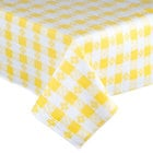 52 inch x 90 inch Yellow Checkered Vinyl Table Cover with Flannel Back