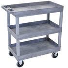 Luxor EC111HD-G Gray Three Tub Shelf Utility Cart - 18 inch x 35 1/4 inch x 37 1/4 inch