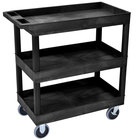 Luxor EC111HD-B Black Three Tub Shelf Utility Cart - 18 inch x 35 1/4 inch x 37 1/4 inch