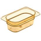 Carlisle 3088613 StorPlus 1/9 Size Amber High Heat Food Pan - 2 1/2 inch Deep
