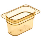Carlisle 3088713 StorPlus 1/9 Size Amber High Heat Food Pan - 4 inch Deep