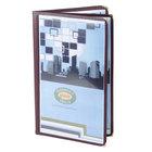 8 1/2 inch x 14 inch Menu Solutions SE350D-BURG Quad Panel Booklet Menu Jacket with 8 Views - Burgundy