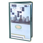 8 1/2 inch x 14 inch Menu Solutions SE340D-GREEN Triple Panel Booklet Menu Jacket with 6 Views - Green